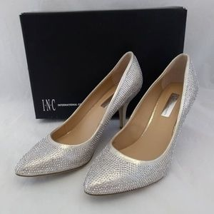 New INC 9.5M Heels Pumps Gold Silver Studded Point